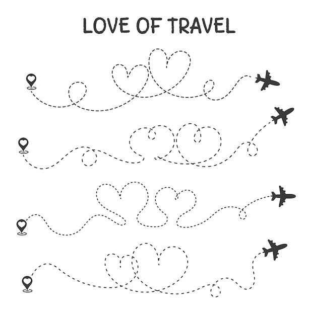 Liebe zum reisen die flugroute ist das herz eines romantischen liebhabers. Premium Vektoren