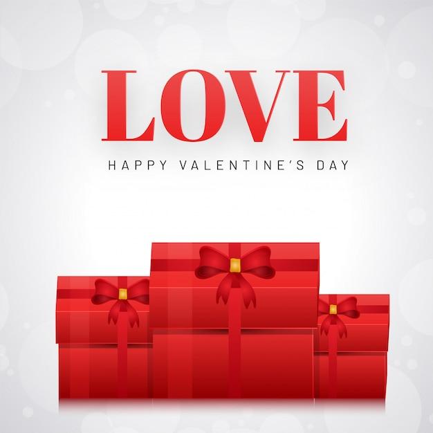 Lieben sie grußkartendesign mit illustration von geschenkboxen auf whi Premium Vektoren