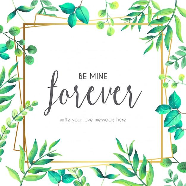 Liebes-Zitat mit Blumenrahmen Kostenlose Vektoren