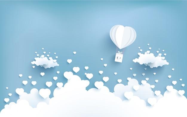 Liebesballons fliegen über die wolken Premium Vektoren