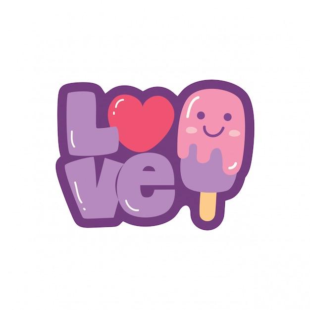 Liebesbeschriftung und niedliche kawaii eiscreme Premium Vektoren