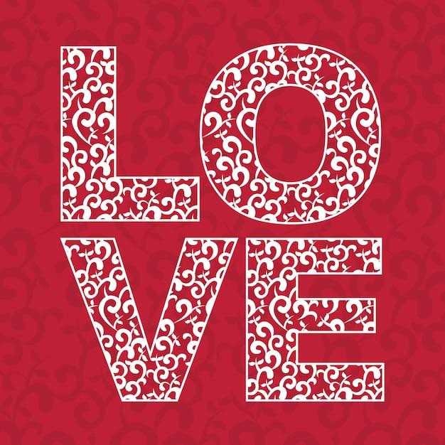Liebesdesign über roter hintergrundvektorillustration Premium Vektoren