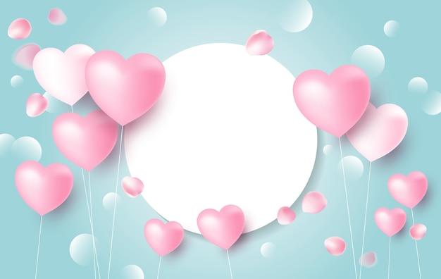 Liebesfahnenkonzeptdesign von herzballonen Premium Vektoren