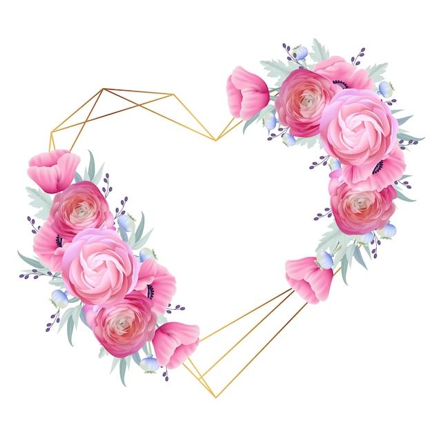 Liebesfeldhintergrund mit blumenranunculus und mohnblumenblumen Premium Vektoren