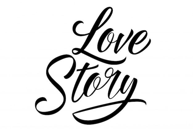 Liebesgeschichte schriftzug Kostenlosen Vektoren