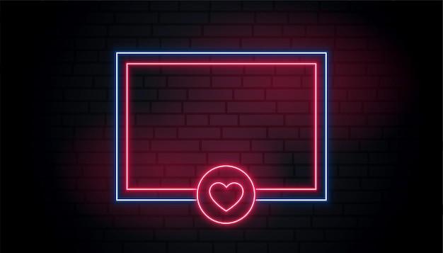 Liebesherz neon leuchtender rahmen mit textraum Kostenlosen Vektoren