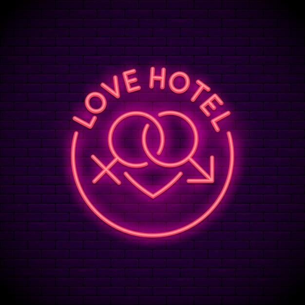Liebeshotel-logo-leuchtreklame Premium Vektoren
