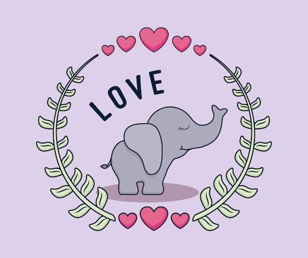 Liebeskarte mit elefanten Premium Vektoren