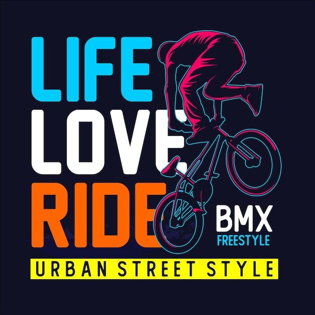 Liebesleben fahren fahrrad t-shirt grafik Premium Vektoren