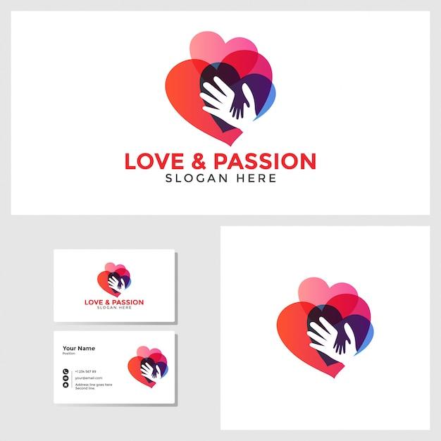 Liebesleidenschaftslogoschablone mit visitenkartedesignmodell Premium Vektoren