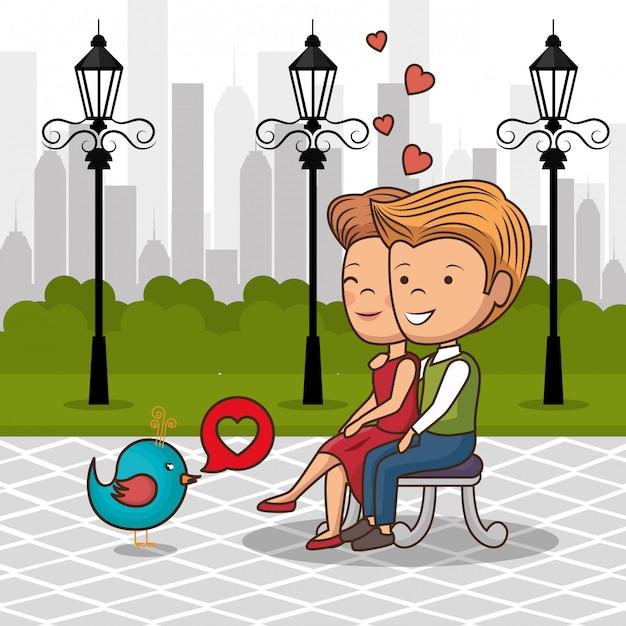 Liebespaar auf parkstuhl Premium Vektoren
