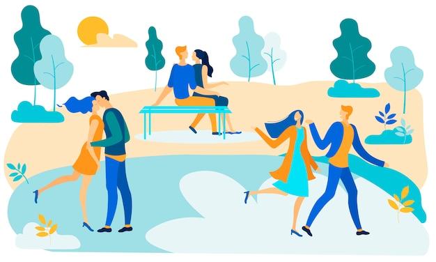 Liebespaar charaktere romantische dating im park Premium Vektoren