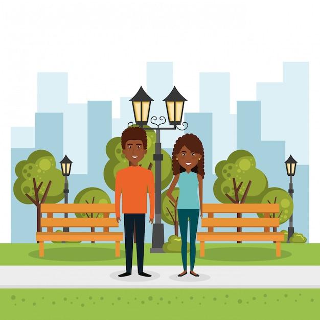 Liebespaar im park Kostenlosen Vektoren