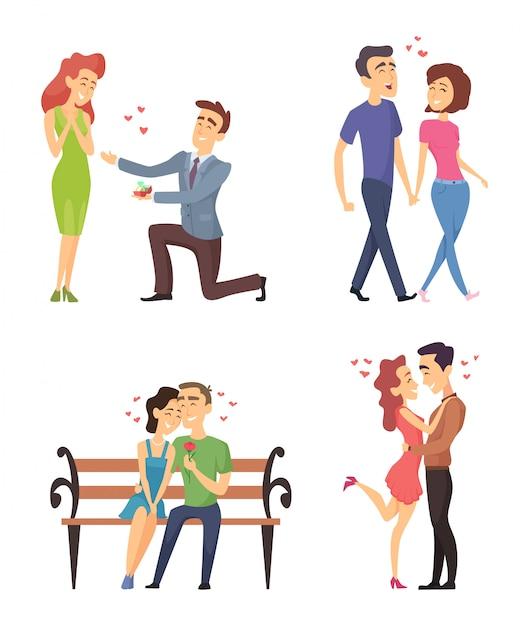 Liebespaare, die valentinstag feiern. lustige schöne charaktere im flachen stil Premium Vektoren