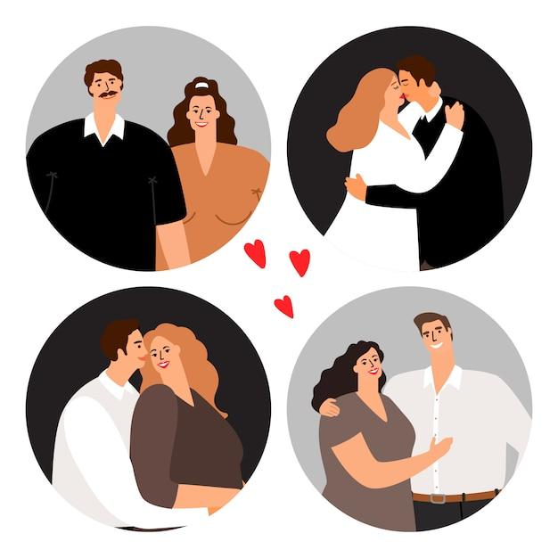 Liebespaare runden avatare ab Premium Vektoren
