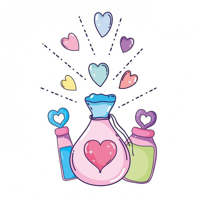 Liebespulver tränensack und flaschen Premium Vektoren