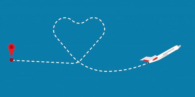 Liebesroutenpfadflug-flugzeugvektorillustration Premium Vektoren