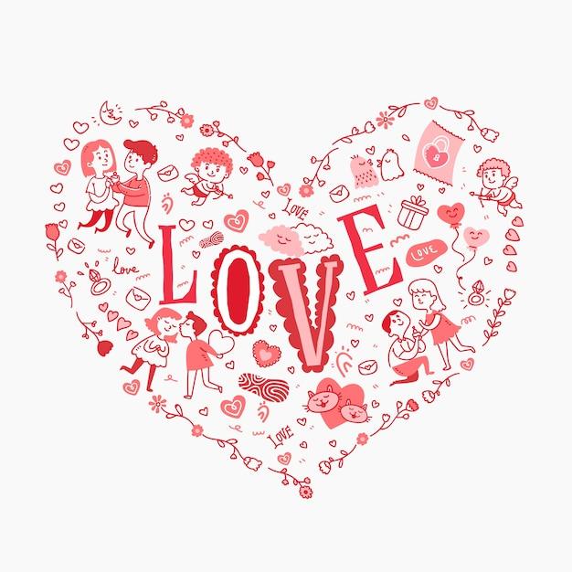 Liebestext in einem herzen gefüllt mit reizenden gekritzeln Kostenlosen Vektoren