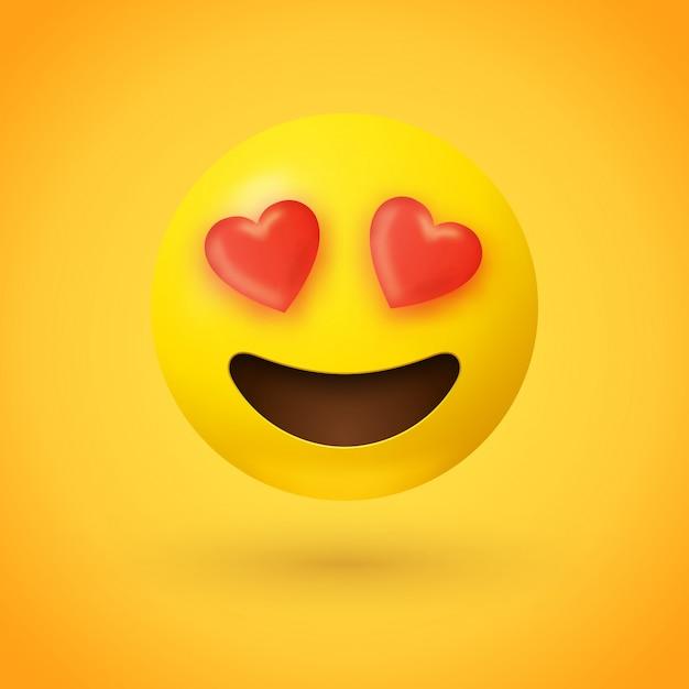 Liebevolle augen emoji Premium Vektoren