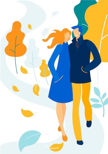Liebevolles glückliches paar in der warmen kleidung gehend, liebe Premium Vektoren