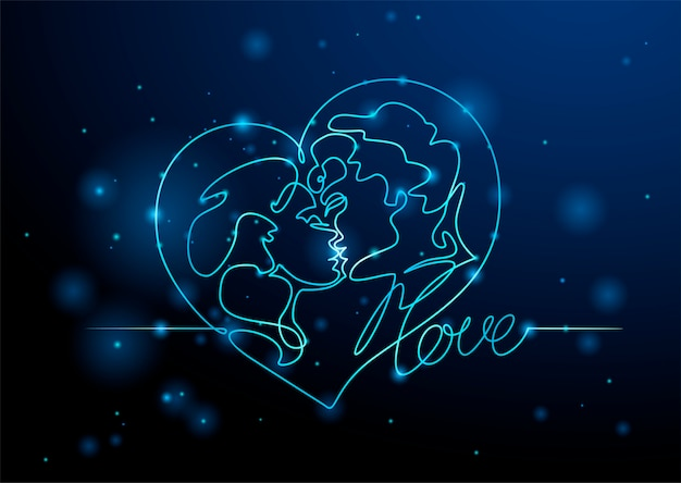 Liebhaber mann und frau küssen Premium Vektoren