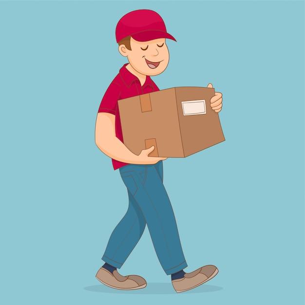 Lieferer, der einen cardbox hält und trägt Premium Vektoren