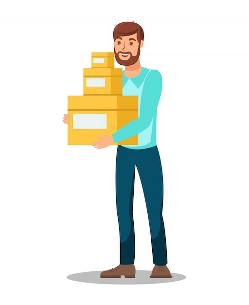 Lieferer, der kasten-illustration hält Premium Vektoren