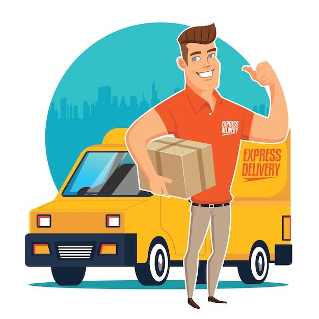 Lieferer und track Premium Vektoren