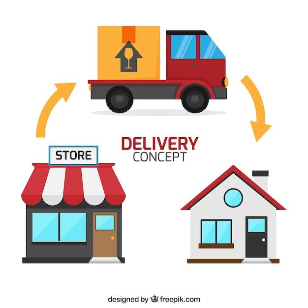 Lieferkonzept mit Haus, Laden und LKW Kostenlose Vektoren