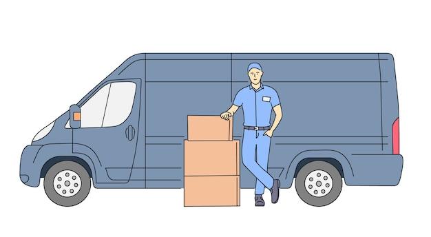 Lieferkurierdienstkonzept lieferkuriermann, der paket mit lieferwagen hält Premium Vektoren