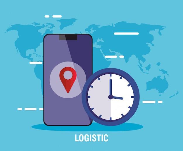 Lieferlogistikservice mit smartphone und uhr Premium Vektoren