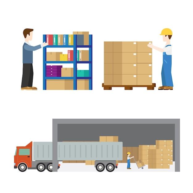Lieferservice arbeiter transport in prozess gesetzt flach modernes konzept. ladevorgang für palettenkisten. kreative leute. Kostenlosen Vektoren
