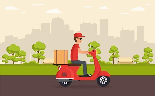 Lieferservice auf dem roller. junge liefert schnell und frei essen oder waren auf roller, der durch park auf hintergrundstadt fährt. Premium Vektoren