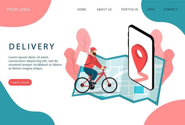 Lieferservice. expresszustellung. lieferbote auf dem fahrrad. landing page. moderne webseiten. Premium Vektoren