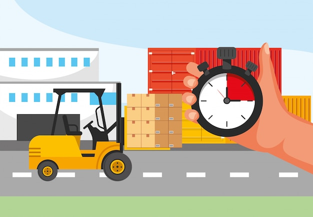 Lieferservice mit gabelstapler und hand mit chronometer-service Premium Vektoren