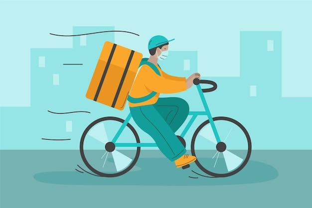 Lieferservice mit mann auf dem fahrrad Kostenlosen Vektoren