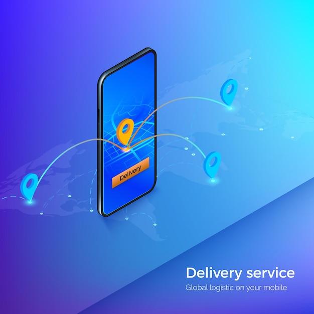 Lieferservice oder mobile versand-app. navigation und gps im smartphone. business illustration logistik und lieferung. Premium Vektoren