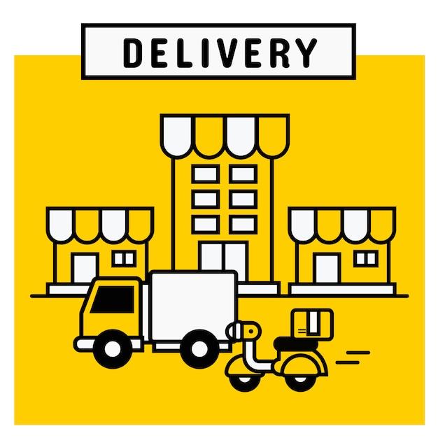 Lieferservice von der online-shopping-plattform. Premium Vektoren