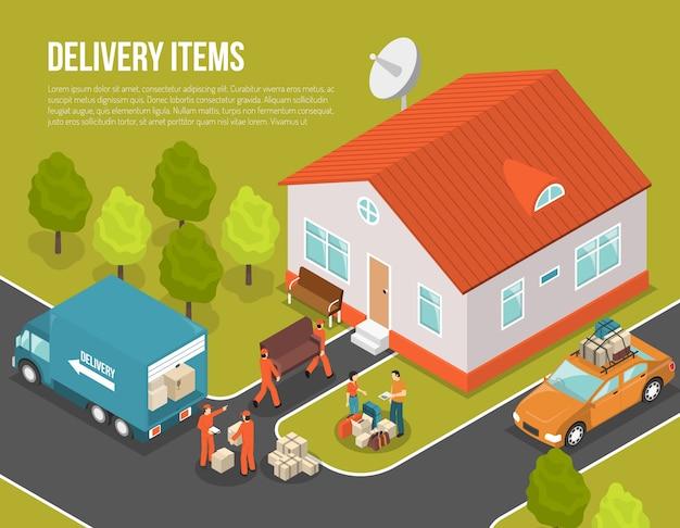 Lieferung, die neue siedler-illustration bewegt Kostenlosen Vektoren