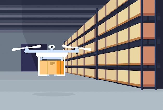 Lieferung drohne fliegende luft versand lager innen paket box auf rack logistik fracht service-konzept Premium Vektoren
