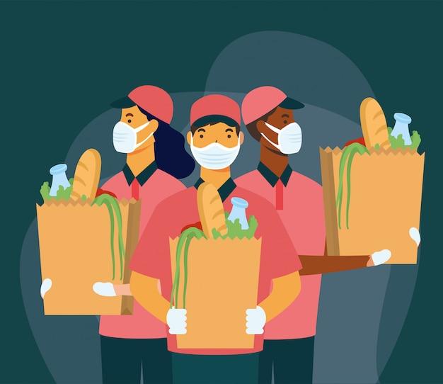Lieferung frau und männer mit masken und einkaufstasche design Premium Vektoren