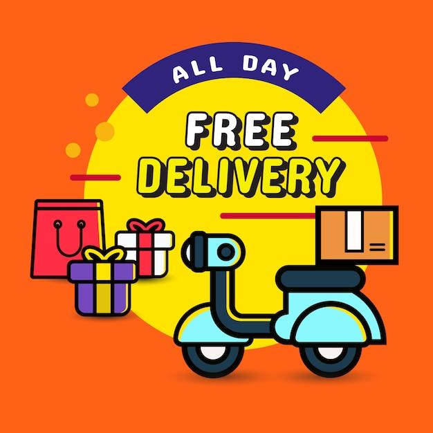 Lieferung ganztägig aus online-shopping Premium Vektoren