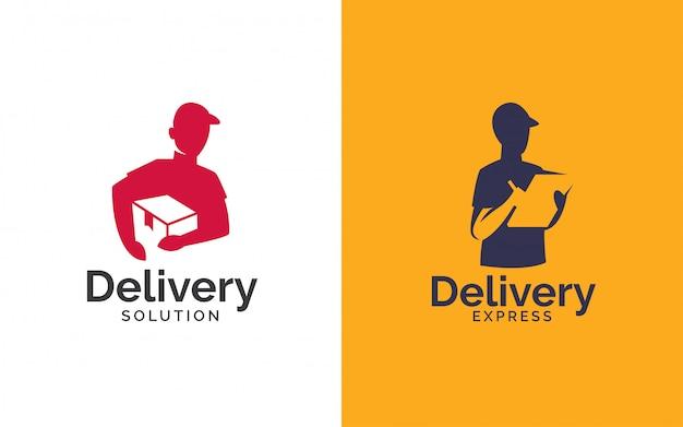 Lieferung logo design Premium Vektoren