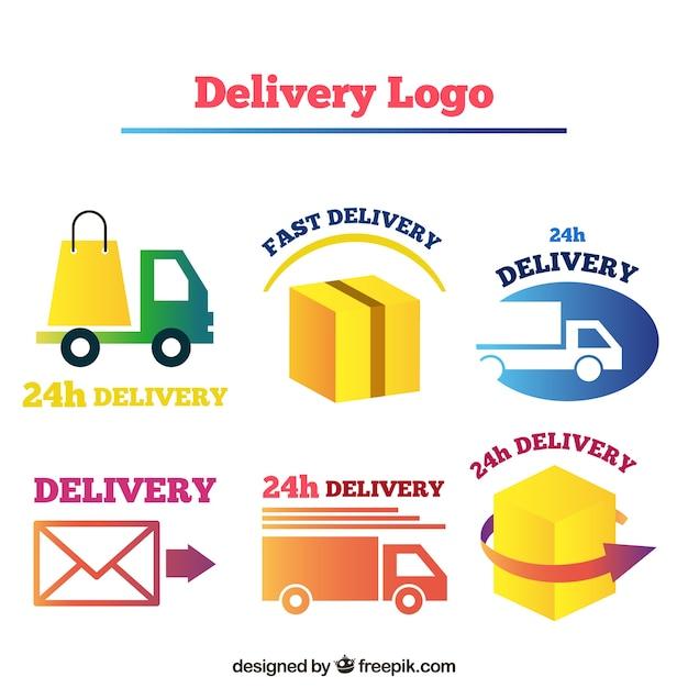 Lieferung logos sammlung für unternehmen Kostenlosen Vektoren
