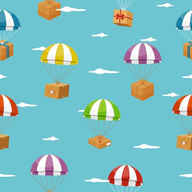 Lieferung nahtlosen hintergrund mit geschenkboxen auf fallschirmen. Kostenlosen Vektoren