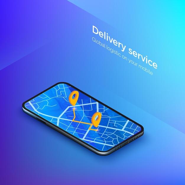 Lieferung oder taxiservice isometrisch. navigation oder gps im handy. mobile app kabine oder versand. stadtplan auf smartphone-anzeige mit route. illustration Premium Vektoren