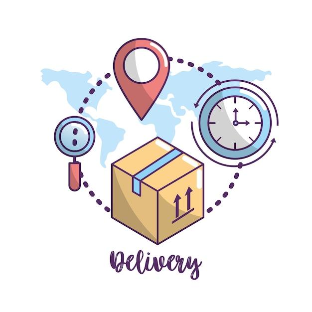 Lieferung transport service zur paketbestellung Premium Vektoren