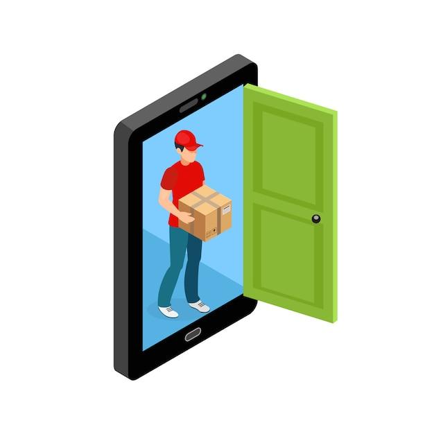 Lieferung tür bildschirm konzept Kostenlosen Vektoren