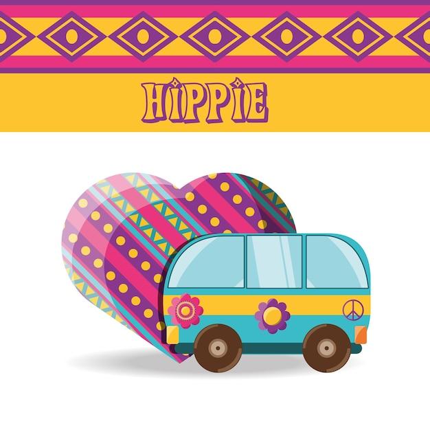 Lieferwagen mit blume hippie-konzept Premium Vektoren