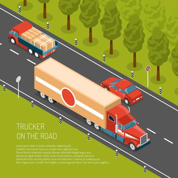 Lieferwagen mit fracht auf straße 3d Kostenlosen Vektoren